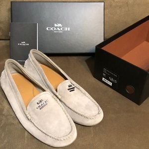 Coach Suede Loafer Driving Moccasins flats 8 Grey